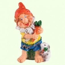 Садовая скульптура Гном с зайцем (Ср)