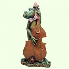 Садовая скульптура Лягушка с контрабасом